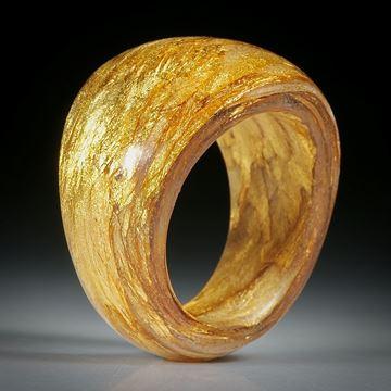 Fingerring Goldtex handgewickelt (Glasfaser mit eingearbeitetem Echtgold 23.75 Karat)