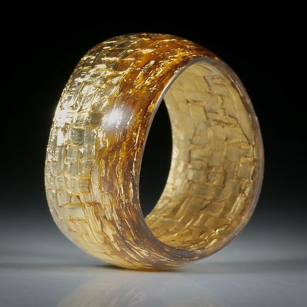 Fingerring Fibertec, Glasfaser mit Bronze poliert