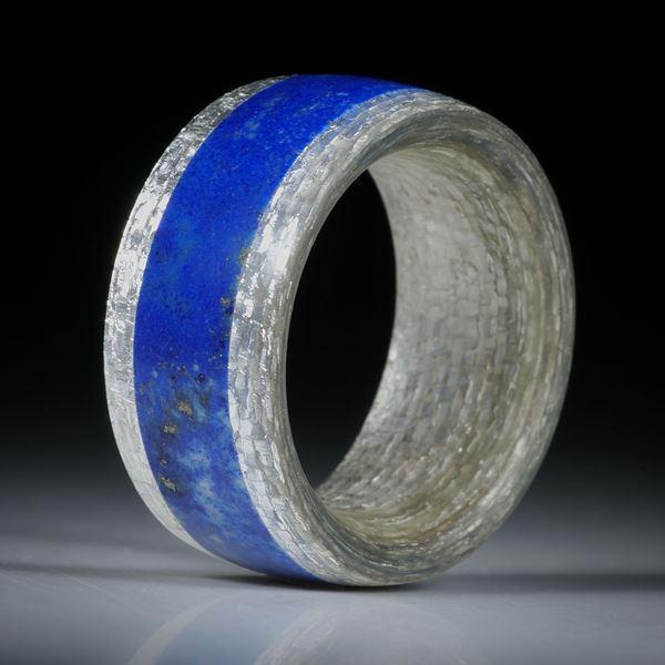 Fingerring Fibertec, Glasfaser mit Feinsilber, mit eingearbeitetem Lapislazuli