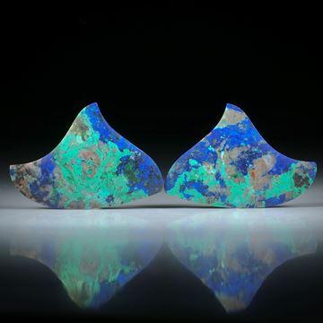 Azurit Malachit Paar, freie Form je ca.28x25x5mm