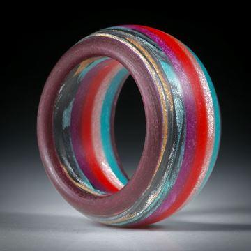 Glasfaserring, handgeschliffener Kombiring mit verschiedenen Farben