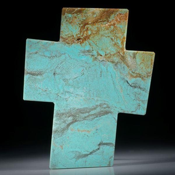 Türkis Kreuz asymmetrisch, plangeschliffen und einseitig poliert ca. 66x53x5mm