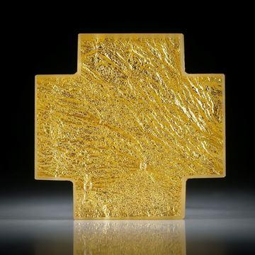 Goldglas Kreuz (Glas mit eingeschmolzenem Gold 23.75ct.) ca.39x38x7mm