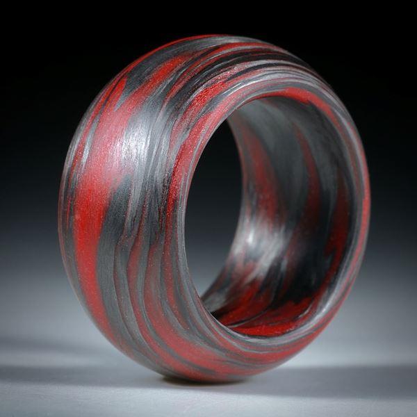Karbonring mit Glasfaser Zinnoberrot, 13mm breit, bombiert mit gerundeten Kanten
