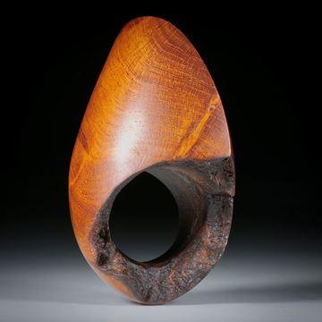 Fingerring aus Wurzelholz, Fantasieform poliert mit naturbelassenen Partien, Innendurchmesser 18mm