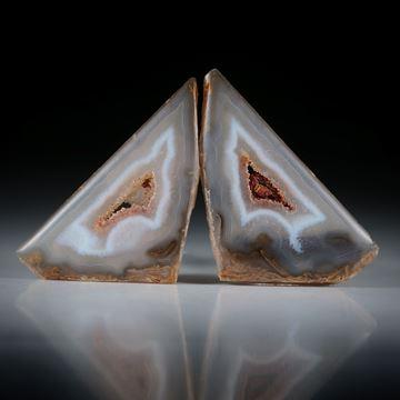 Polygonachat Paar, Oberseite leicht bombiert und poliert, je ca.34x20x5mm