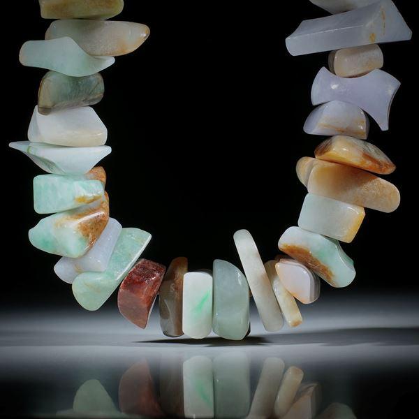 Edelsteincollier Jade, Jadeit, barocke Formen poliert ca.15-35mm, Länge 50cm