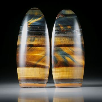 Tiger- Falkenauge Paar, freie Form teilweise Naturbelassen, Oberseite leicht bombiert und poliert je ca.40x17x5mm