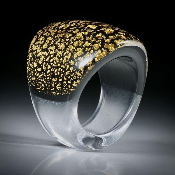 Goldglas Fingerring, im Verlauf geschliffen, bombiert und Poliert, Innendurchmesser 20.3mm