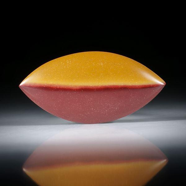 Mookait Australien, Navette mit natürlicher Farbabgrenzung, bombiert und poliert ca.38x19x5mm