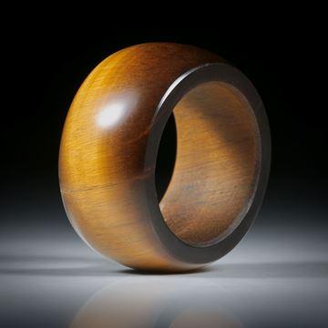 Edelsteinring Tigerauge, parallel geschliffener Ring, leicht bombiert und poliert, Innendurchmesser 20.2mm