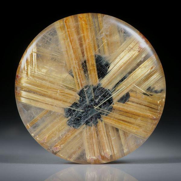 Rutilstern 25.03ct. runder Cabochon, beidseitig bombiert geschliffen und poliert, ca.23.5x23.5x5.5mm