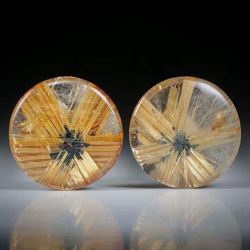 Sternrutil Paar, 30ct. runde Cabochon, beidseitig bombiert geschliffen und poliert, je ca.18x18x5.5mm