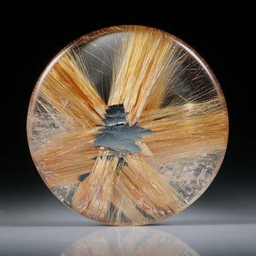 Sternrutil 16.96ct. runder Cabochon, beidseitig bombiert geschliffen und poliert, ca.22x22x5mm