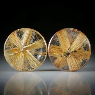 Sternrutil Paar, 21.39ct. runde Cabochon, beidseitig bombiert geschliffen und poliert, je ca.18x18x5mm
