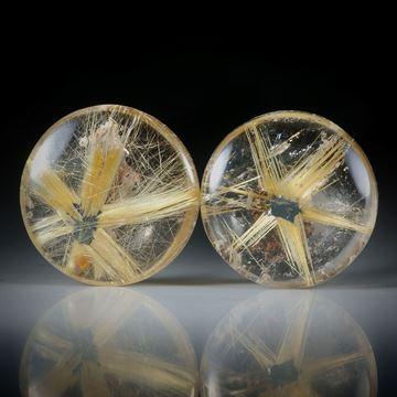 Rutilstern Paar, 21.52ct. runde Cabochon, beidseitig bombiert geschliffen und poliert, je ca.17x17x5.5mm