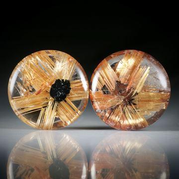Rutilstern Paar, 12.2ct. runde Cabochon, beidseitig bombiert geschliffen und poliert, je ca.13x13x4.5mm