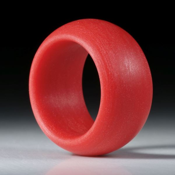 Fingerring Glasfaser Zinnoberrot, aussen bombiert, Breite 13.5mm, Innendurchmesser 19.1mm