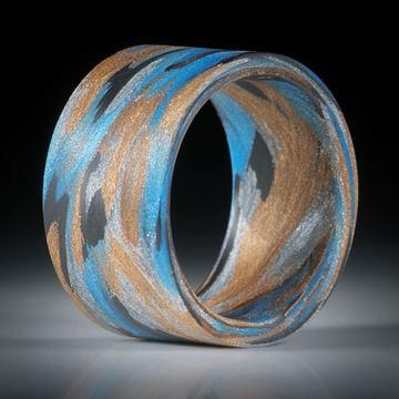 """Fingerring Fibertec """"V10"""", Karbon, Broncetex, Alutex und Glasfaser mit Libellenblau"""