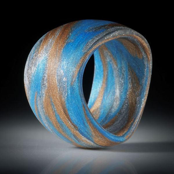 "Fingerring Fibertec ""V11"", Broncetex, Alutex und Glasfaser mit Libellenblau"