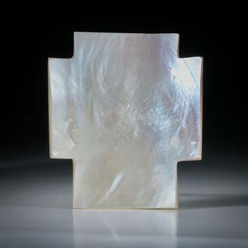 Perlmutter Kreuz, Hammershell, beidseitig naturbelassen ca.58x42x6mm