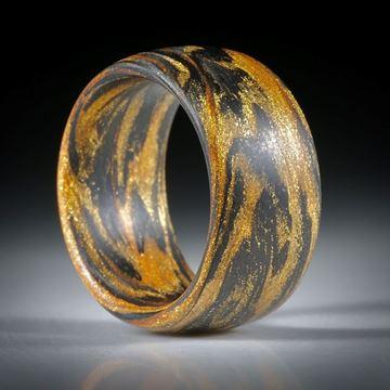 Fibertec Ring, Karbon mit Glasfaser Mira Cosmic Gold, Innendurchmesser 18.6mm