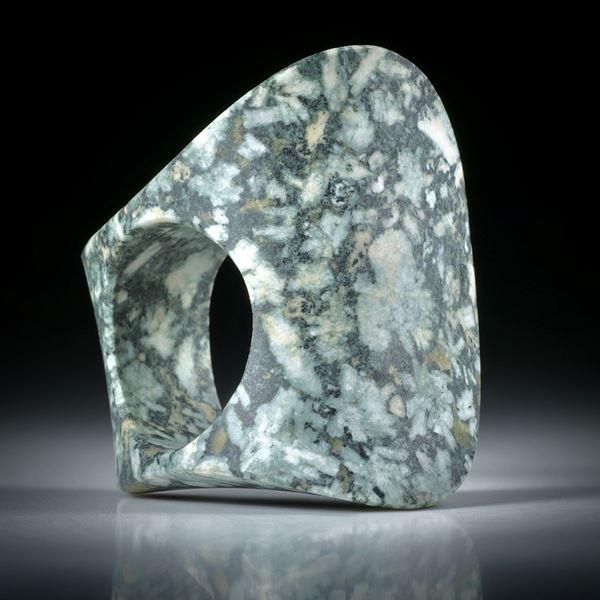 Steinring Flowerstone (USA), zweiflächig bequem geschliffene Freiform ca.39x35x23mm