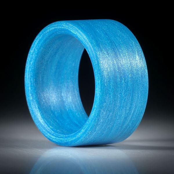 Fingerring Fibertex, Glasfaser mit Libellenblau, feinmatt geschliffen, Breite 12.8mm