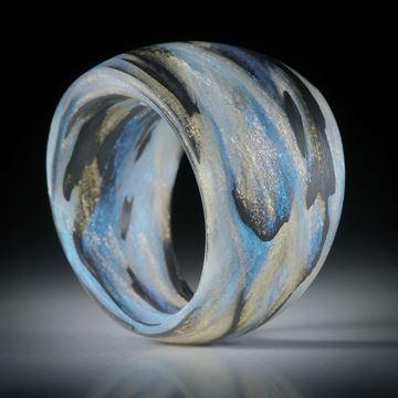 Fingerring Fibertec, Karbon mit Glasfaser Mira Sonnengold und Mira Türkis, handgewickelt matt, im Verlauf innen/aussen gerundet, Breite 17.5mm