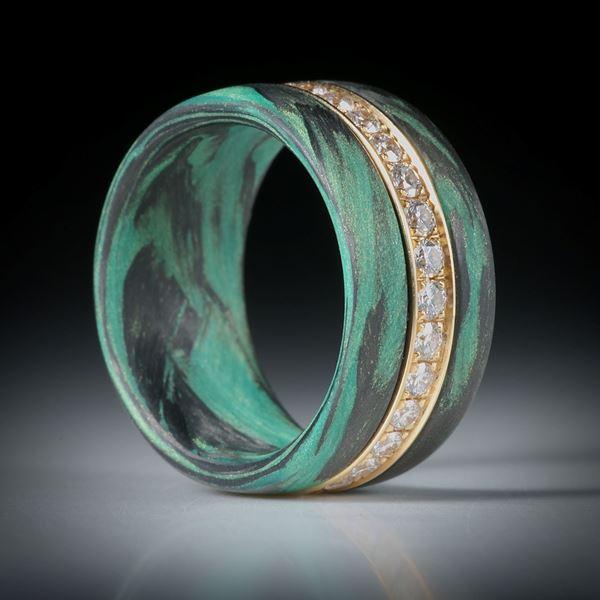 Diamantring, Eternityring mit Karbon und Glasfaser, Gelbgold 18K mit 30 Brillanten à 2mm Durchmesser, 0.95ct.