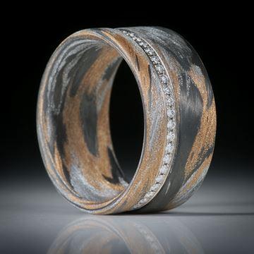 Diamantring, Eternityring mit Karbon und Glasfaser, Weissgold 18K mit 48 Brillanten à 1.1mm Durchmesser, 0.27ct.