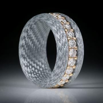 Diamantring, Eternityring mit Alutex, Gelbgold 18K mit 24 Brillanten à 2.7mm Durchmesser, 1.86ct.