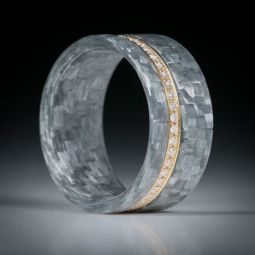 Diamantring, Alliancering mit Alutex, Gelbgold 750 mit 47 Brillanten à 1.1mm Durchmesser, 0.27ct.
