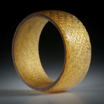 Fingerring Glasfaser mit eingearbeitetem Blattgold, Breite 11.3mm, Innendurchmesser 20mm