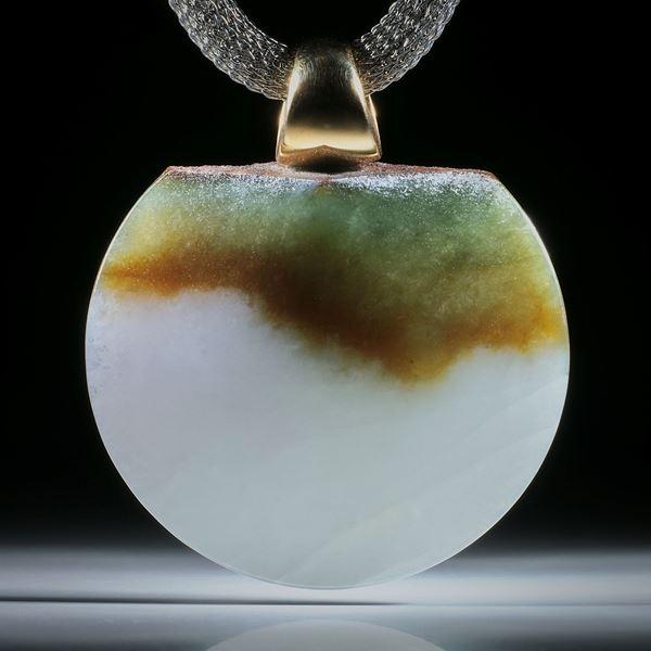 Jadeanhänger (Jadeit) mit Gelbgold 750