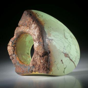 Edelsteinring Zitronenchrysopras, teilweise naturbelassener grosser Tafelring ca.45x39x34mm
