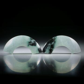 Jadeit Paar mit natürlichem Farbverlauf, je ca.42x20x6mm