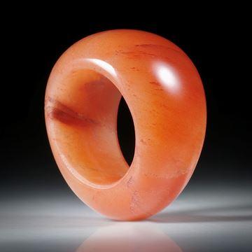 Edelsteinring Eosit, im Verlauf geschliffen und poliert, Breite von 19mm auf 12.6mm, Innendurchmesser 19.1mm