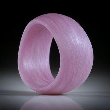 Glasfaser Fingerring (Thioindigo mit Polarsilber),handgeschliffene geschwungene Form feinmatt, Breite 12mm, Innendurchmesser 18mm