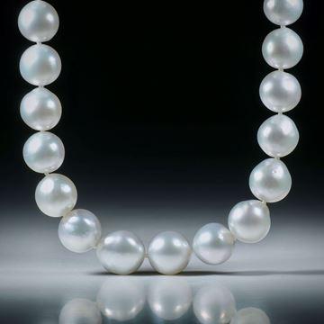 Perlencollier Südsee, Durchmesser 9-11mm, Gesamtlänge 45.5cm, geknüpft, mit Goldverschluss