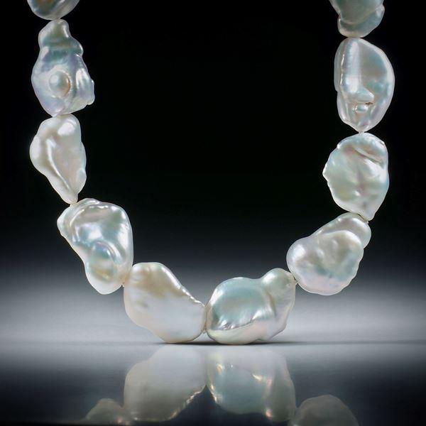 Perlencollier Süsswasser, barock silber, Gesamtlänge 43cm, geknüpft, mit Silberverschluss AG925