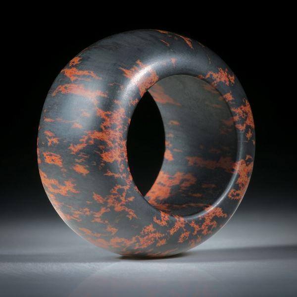 Steinring Mahagoni Obsidian, feinmatt handgeschliffen, parallel mit bombiertem Profil, Innendurchmesser 19.2mm