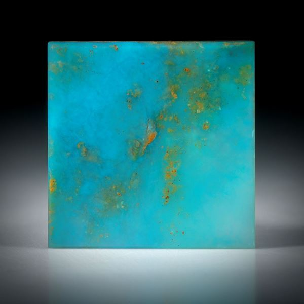 Andenopal blau, Viereckige Form, flach poliert, 25x25x3mm