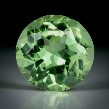 Peridot Norwegen, 3.37ct.  rund facettiert, 9.7x9.7x5.7mm