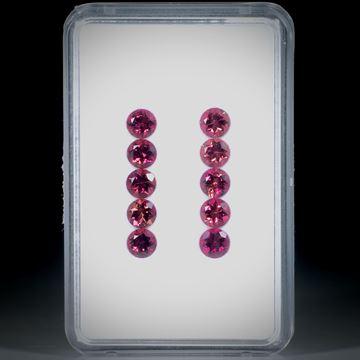 Turmalin rund facettiert 10 Steine total 4.48ct. Durchmesser ca. 4.5mm