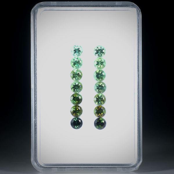 Turmalin rund facettiert 14 Steine total 3.76ct. Durchmesser ca. 4mm