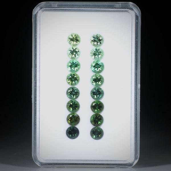 Turmalin rund facettiert 16 Steine total 6.1ct. Durchmesser ca. 4mm