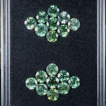 Turmalin Set aus 18 Steinen 5.92ct. rund facettiert, Durchmesser ca.4.5mm