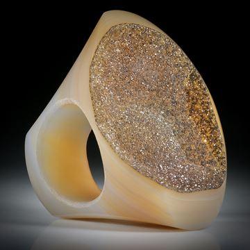 Edelsteinring Achat mit kristalliner Oberfläche, Tafelring ca.47x35x37mm, Innendurchmesser 20.1mm