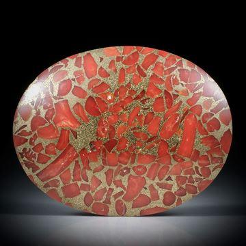 Edelkoralle, corallium rubrum, in Messingmatrix, ovaler leicht bombierter Cabochon ca.51x40x7mm